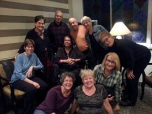 Wednesday Night Improv traveled to Wesley Woods to play with class member Ernie Brazeal while she is recovering from a broken right knee and a broken left ankle,